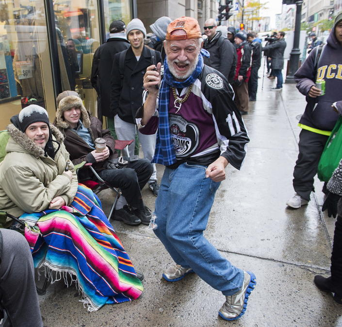<p>A man dances as he waits in line to purchase legal cannabis outside a government cannabis store in Montreal, Wednesday, Oct. 17, 2018. (Photo: Graham Hughes/The Canadian Press via AP) </p>