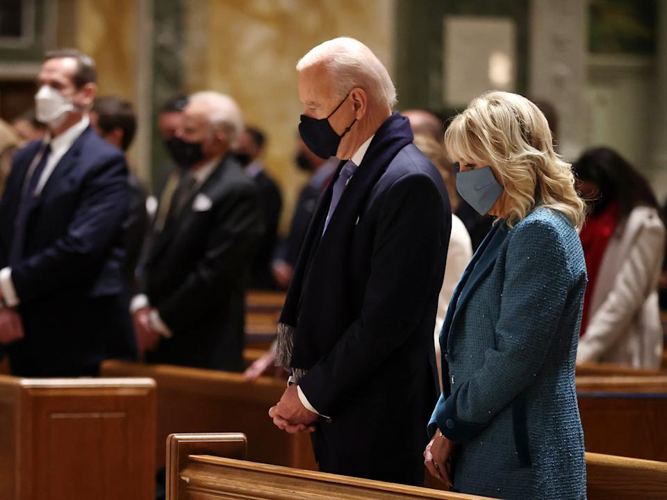 Joe Biden and Jill Biden attend services at the Cathedral of St Matthew the Apostle ahead of the presidential inauguration ceremony. Once inaugurated, Mr Biden will be the second Catholic president in US history and the first since John F KennedyGetty Images