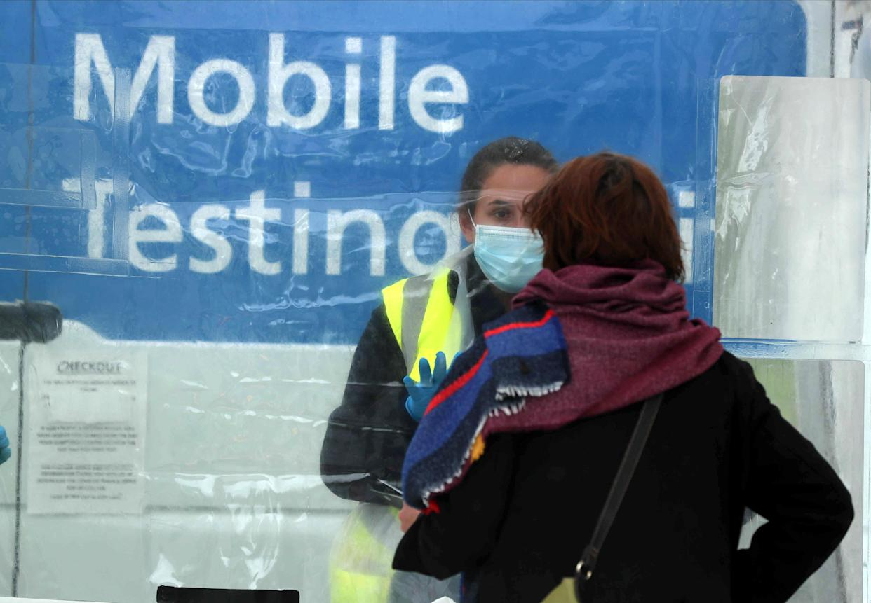 Staff member at an NHS mobile vaccination and testing unit at Northumberland Retail Park as cases of the Indian-origin coronavirus variant continue to rise in Shiremoor, North Tyneside, England. Photo: Lee Smith/Reuters