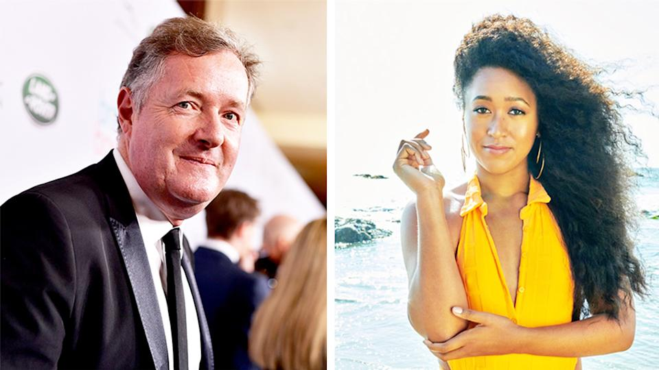 Media commentator Piers Morgan (pictured left) on the red carpet and (pictured right) Naomi Osaka on the cover of Sports Illustrated swimsuit edition.