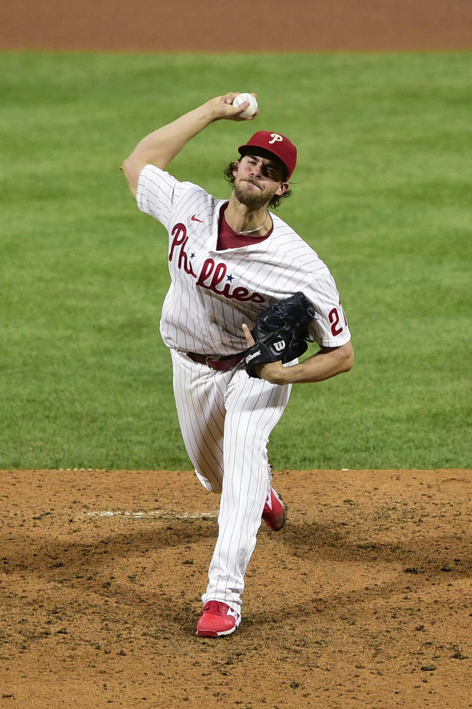 Philadelphia Phillies' Aaron Nola throws the ball during the fourth inning of a baseball game against the Milwaukee Brewers, Tuesday, May 4, 2021, in Philadelphia. (AP Photo/Derik Hamilton)