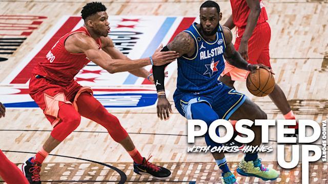 """Team captains <a class=""""link rapid-noclick-resp"""" href=""""/nba/players/5185/"""" data-ylk=""""slk:Giannis Antetokounmpo"""">Giannis Antetokounmpo</a> and <a class=""""link rapid-noclick-resp"""" href=""""/nba/players/3704/"""" data-ylk=""""slk:LeBron James"""">LeBron James</a> square off in the 2020 NBA All-Star Game on Sunday night, February 16th. (Photo by Lampson Yip - Clicks Images/Getty Images)"""