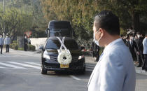 A hearse of the late Samsung Electronics chairman Lee Kun-Hee leaves outside a funeral hall in Seoul, South Korea, Wednesday, Oct. 28, 2020. Lee, who transformed the small television maker into a global giant of consumer electronics but whose leadership was also marred by corruption convictions, died on Sunday at the age of 78. (AP Photo/Lee Jin-man)