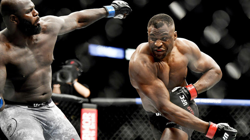 Francis Ngannou (right) is pictured throwing a punch at Jairzinho Rozenstruik at UFC 249.