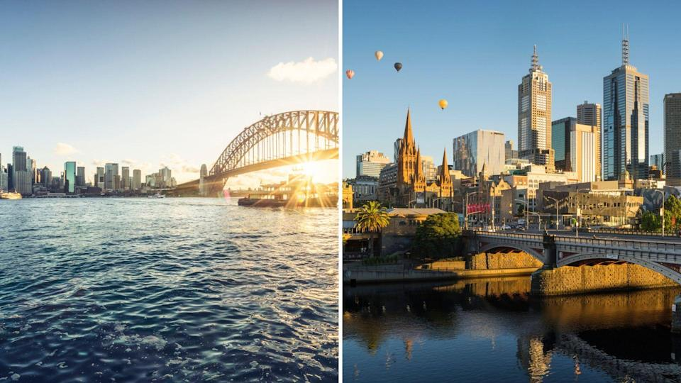 The CBDs of Sydney, NSW and Melbourne, Victoria. <i>Source: Getty</i>