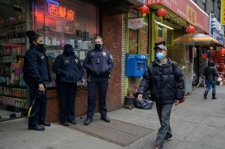 Police officers, photographed in Chinatown Manhattan on March 17, 2021, have stepped up patrols following a surge in anti-Asian violence