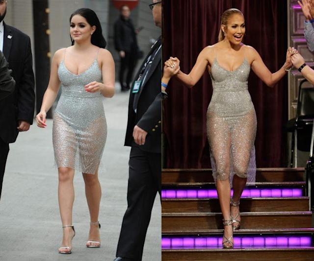 Ariel Winter and Jennifer Lopez were twinning in the same silver dress. (Photo: Getty Images/CBS)