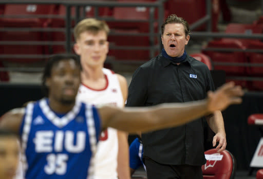 Eastern Illinois coach Jay Spoonhour yells to his players during the second half of an NCAA college basketball game against Wisconsin on Wednesday, Nov. 25, 2020, in Madison, Wis. Wisconsin won 77-67. (AP Photo/Andy Manis)