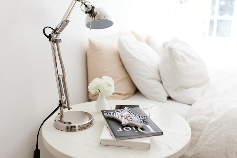 """<p>Keep things bright in your space, wherever you are, as much as possible. Open the blinds, get out into sunlight as much as you can, and invest in a <a href=""""https://www.popsugar.com/fitness/What-Happy-Light-44350833"""" class=""""link rapid-noclick-resp"""" rel=""""nofollow noopener"""" target=""""_blank"""" data-ylk=""""slk:light machine"""">light machine</a> or add more lamp lighting to your space. The <span>Mayo Clinic recommends this</span> as a fundamental part of <span>SAD treatment</span>.</p>"""