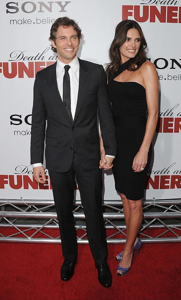 "<a href=""http://movies.yahoo.com/movie/contributor/1800355003"">James Marsden</a> and wife Lisa at the Los Angeles premiere of <a href=""http://movies.yahoo.com/movie/1810077967/info"">Death at a Funeral</a> - 04/12/2010"