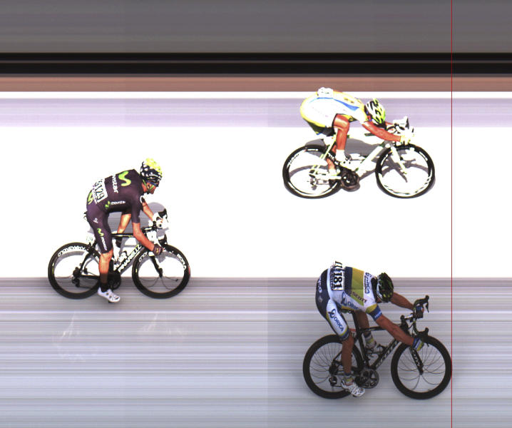 In this photo finish image provided by ASO, Australia's Simon Gerrans, bottom, crosses the finish line ahead of Peter Sagan of Slovakia, top and second place, and Jose Joaquin Rojas of Spain, left and third place, to win the third stage of the Tour de France cycling race over 145.5 kilometers (91 miles) with start in Ajaccio and finish in Calvi, Corsica island, France, Monday July 1, 2013. (AP Photo/ASO, HO)