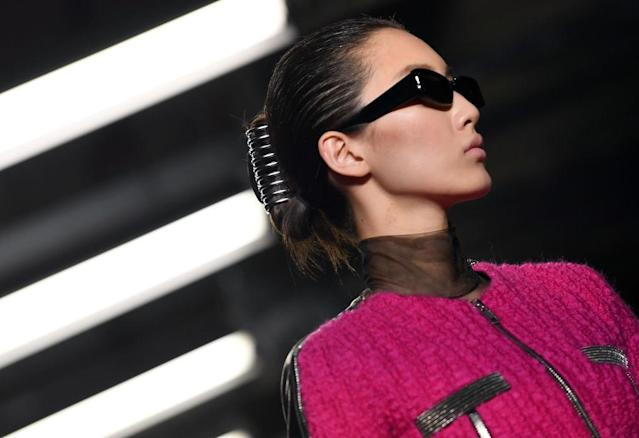 "Models at Alexander Wang's Fall 2018 took the runway wearing what was described as ""custom-made banana clips."" (Photo: Getty Images)"