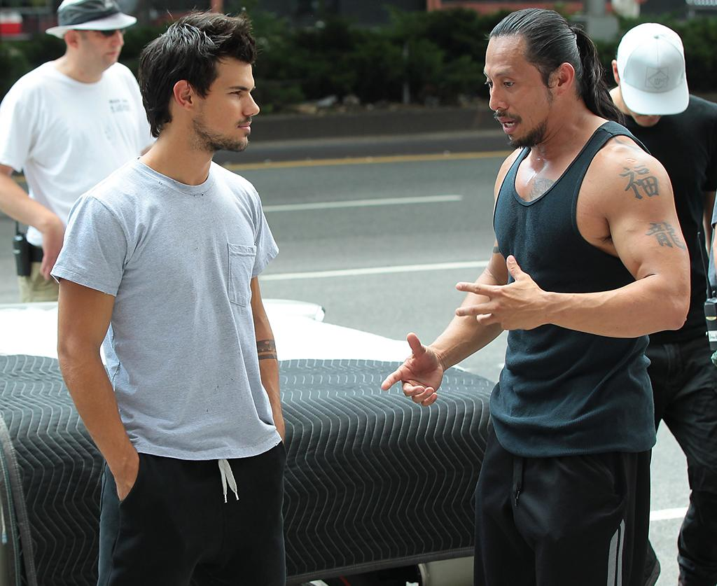 Taylor Lautner on the set of 'Tracers' in New York.
