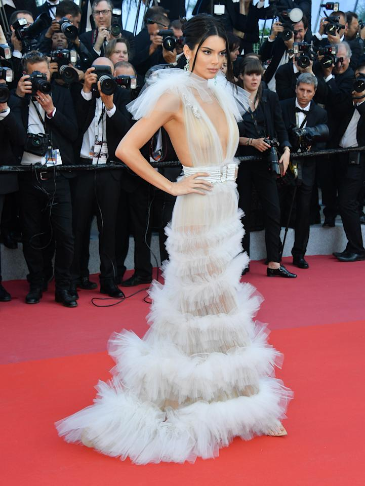 <p>A fan of the 'free the nipple' movement, the model and reality star went braless<br />sheer dress. Photo: Getty </p>