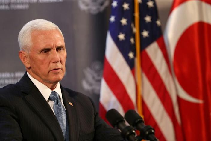 US Vice President Mike Pence brokered the agreement for Turkey to suspend its offensive against the Kurds in northern Syria (AFP Photo/Adem ALTAN)