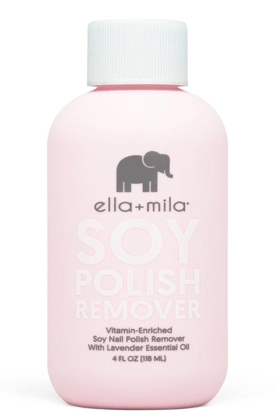 """<p><strong>ella mila</strong></p><p>target.com</p><p><strong>$11.49</strong></p><p><a href=""""https://www.target.com/p/ella-mila-soy-nail-polish-remover-4-fl-oz/-/A-52901524"""" rel=""""nofollow noopener"""" target=""""_blank"""" data-ylk=""""slk:Shop Now"""" class=""""link rapid-noclick-resp"""">Shop Now</a></p><p>Some nail polish removers are so harsh, they feel like they're taking off the top layer of your nails along with your polish. You don't have to worry about that with this soy-based remover, though. <strong>It's extra gentle and it's packed with <a href=""""https://www.cosmopolitan.com/style-beauty/beauty/a27609307/vitamin-e-for-skin-benefits-products/"""" rel=""""nofollow noopener"""" target=""""_blank"""" data-ylk=""""slk:vitamins E"""" class=""""link rapid-noclick-resp"""">vitamins E</a>, C, and A</strong> to help promote nail growth.<br></p>"""
