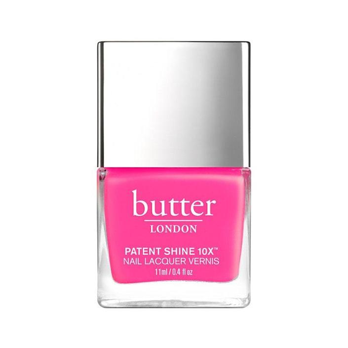 "<p>""Butter London Strawberry Fields is a full-coverage pink that you don't need multiple coats of,"" says Inzerillo. We love this shade for summer, but it doesn't hurt to include it in your <a href=""https://www.allure.com/gallery/best-at-home-gel-manicure-nail-kits?mbid=synd_yahoo_rss"" rel=""nofollow noopener"" target=""_blank"" data-ylk=""slk:nail kit"" class=""link rapid-noclick-resp"">nail kit</a> all year round for a little brightness on those dark and gloomy winter days. </p> <p><strong>$18</strong> (<a href=""https://www.butterlondon.com/strawberry-fields-patent-shine-10x-nail-lacquer"" rel=""nofollow noopener"" target=""_blank"" data-ylk=""slk:Shop Now"" class=""link rapid-noclick-resp"">Shop Now</a>)</p>"