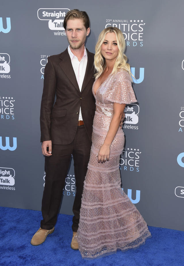 Karl Cook, left, and Kaley Cuoco arrive at the 23rd annual Critics' Choice Awards at the Barker Hangar on Thursday, Jan. 11, 2018, in Santa Monica, Calif. (Photo by Jordan Strauss/Invision/AP)