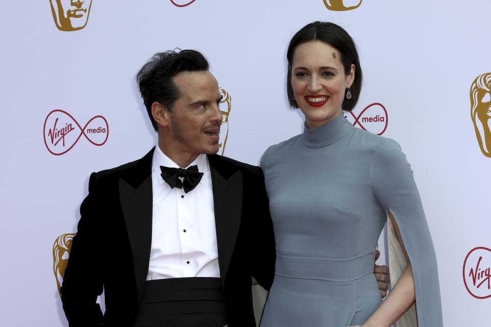 Actor Andrew Scott and writer Phoebe Waller-Bridge pose for photographers on arrival at the 2019 BAFTA Television Awards in London, Sunday, May 12, 2019.(Photo by Grant Pollard/Invision/AP)