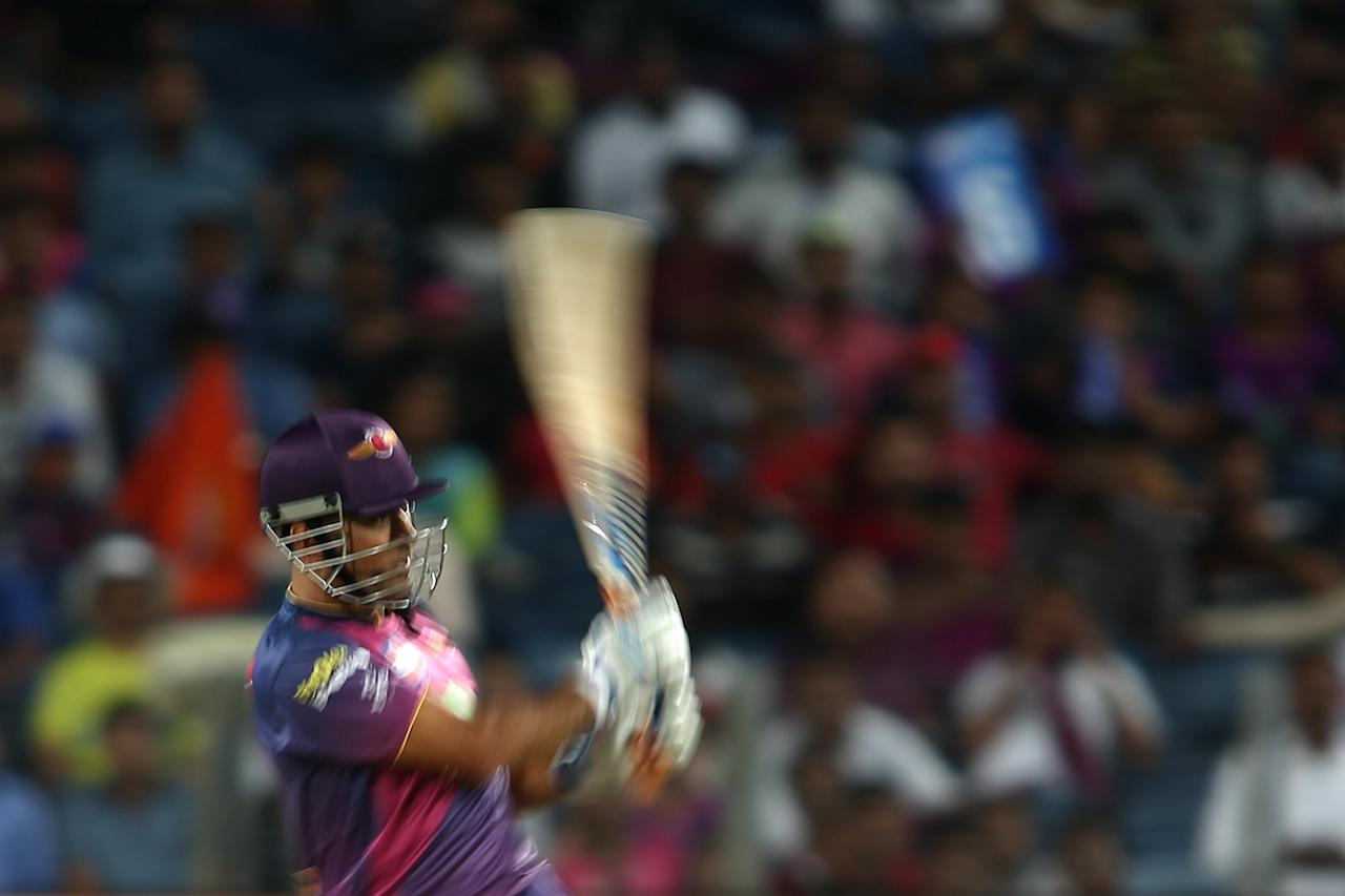<p>MS Dhoni of Rising Pune Supergiant plays a delivery down the ground during match 24 of the Vivo 2017 Indian Premier League between the Rising Pune Supergiant and the Sunrisers Hyderabad held at the MCA Pune International Cricket Stadium in Pune, India on the 22nd April 2017<br />Photo by Shaun Roy – Sportzpics – IPL </p>