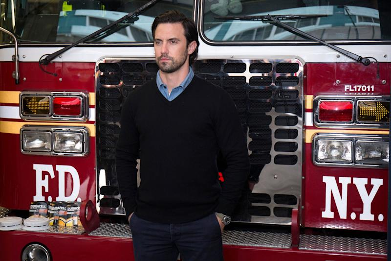 Milo Ventimiglia teamed up with Duracell, visiting the New York City Fire Department this week to remind everyone to change their smoke detector batteries when changing their clocks for daylight saving time. (Photo: Santiago Felipe via Getty Images)