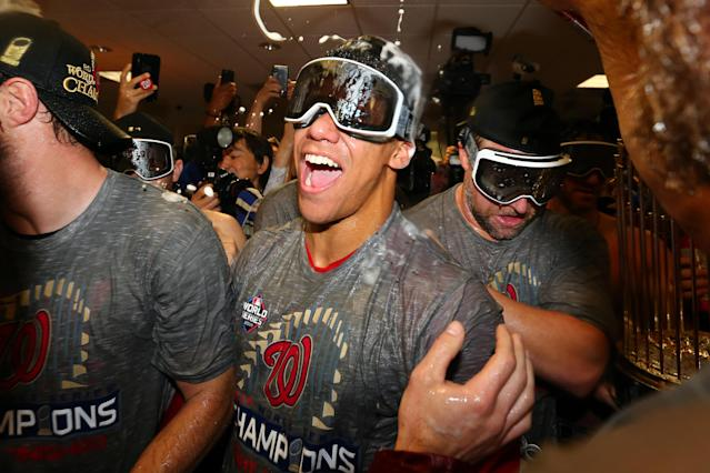 Juan Soto finally got the celebrate like a postseason win like an adult after turning 21 during the World Series. (Alex Trautwig/Getty Images)