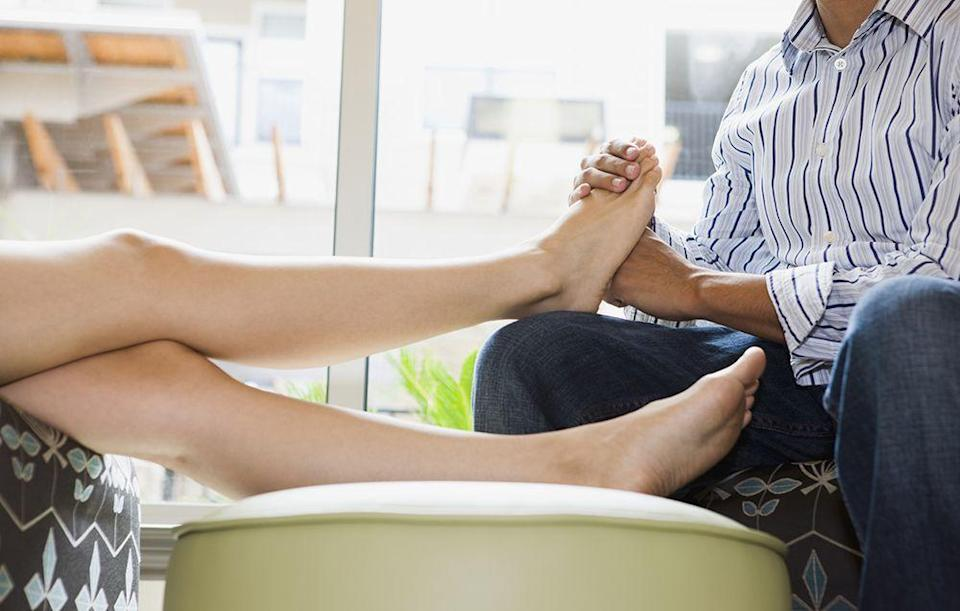 """<p>""""Simultaneously rubbing each other's feet is a small way my boyfriend and I show our appreciation for one another."""" <em>–Nancy </em>(Nothing ruins a foot massage like odor; here are <a href=""""http://www.prevention.com/health/15-tips-to-help-with-foot-odor"""" rel=""""nofollow noopener"""" target=""""_blank"""" data-ylk=""""slk:15 ways to keep it at bay"""" class=""""link rapid-noclick-resp"""">15 ways to keep it at bay</a>.)</p>"""