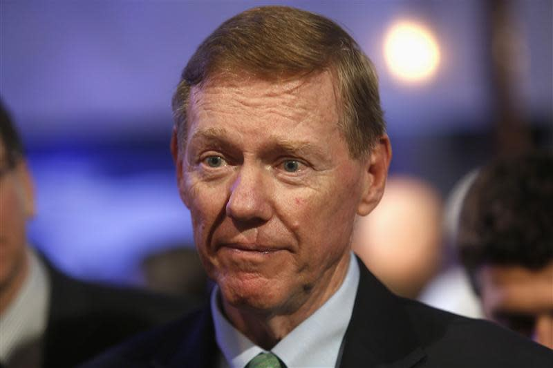 File photo of Ford Motor Co. CEO Mulally attending gathering with members of media at Ford Conference Center in Dearborn