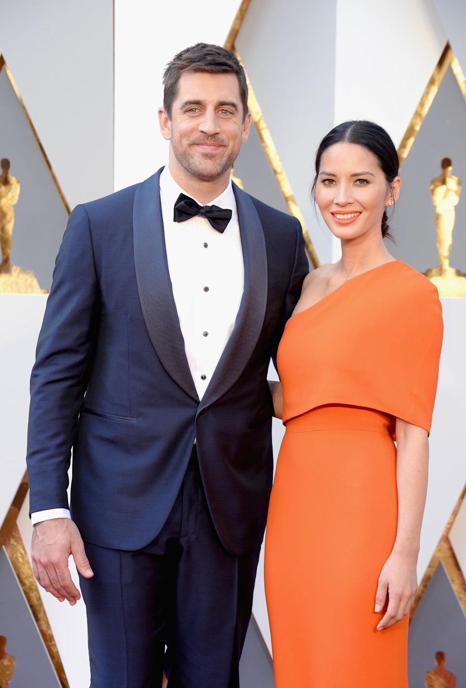 """<p><a href=""""https://www.popsugar.com/celebrity/Olivia-Munn-Aaron-Rodgers-Break-Up-43404229"""" class=""""link rapid-noclick-resp"""" rel=""""nofollow noopener"""" target=""""_blank"""" data-ylk=""""slk:Olivia and Aaron were together for three years"""">Olivia and Aaron were together for three years</a> before they went their separate ways in April 2017. According to <strong>People</strong>, <a href=""""https://people.com/celebrity/olivia-munn-aaron-rodgers-split/?xid=Popsugar"""" class=""""link rapid-noclick-resp"""" rel=""""nofollow noopener"""" target=""""_blank"""" data-ylk=""""slk:their split was amicable"""">their split was amicable</a> and they remain """"close friends."""" <a href=""""https://www.popsugar.com/celebrity/aaron-rodgers-engaged-shailene-woodley-48152702"""" class=""""link rapid-noclick-resp"""" rel=""""nofollow noopener"""" target=""""_blank"""" data-ylk=""""slk:Aaron is now engaged to Shailene Woodley"""">Aaron is now engaged to Shailene Woodley</a>. </p>"""