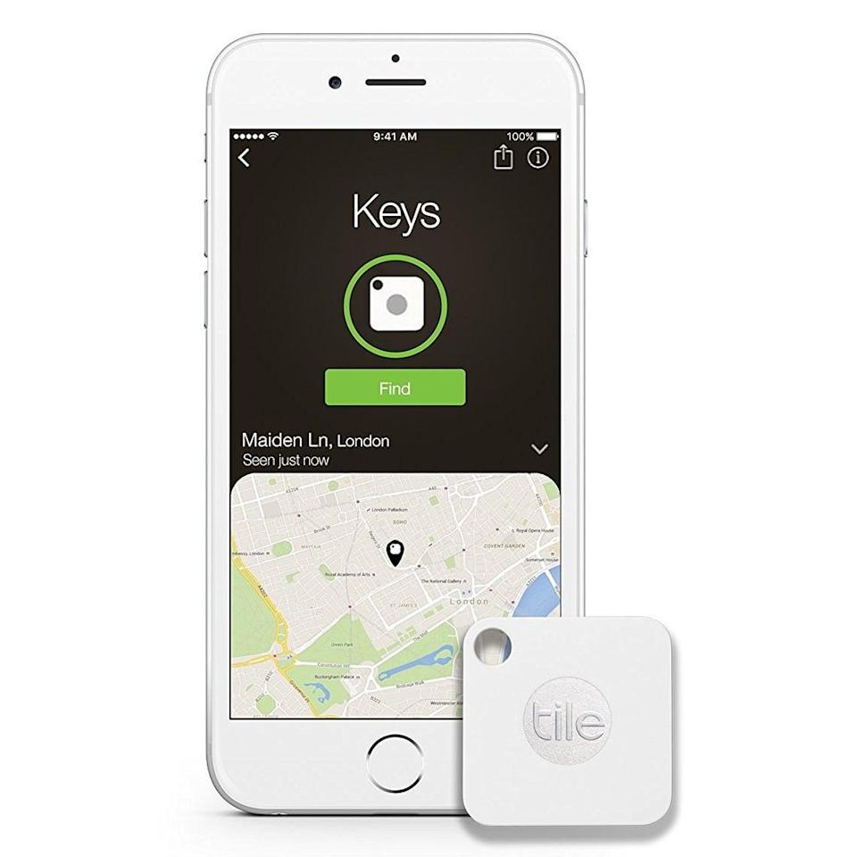 """<p>Never lose your keys again with this <a href=""""https://www.popsugar.com/buy/Tile-Mate-110715?p_name=Tile%20Mate&retailer=amazon.com&pid=110715&price=18&evar1=geek%3Auk&evar9=36141091&evar98=https%3A%2F%2Fwww.popsugartech.com%2Fphoto-gallery%2F36141091%2Fimage%2F36141404%2FTile-Mate-Key-Finder&list1=gadgets%2Choliday%2Cgeek%20gear%2Cgift%20guide%2Cproducts%20under%20%24100%2Choliday%20living%2Ctech%20gifts%2Choliday%20tech%2Cgifts%20under%20%2450%2Cunder%20%24100&prop13=api&pdata=1"""" class=""""link rapid-noclick-resp"""" rel=""""nofollow noopener"""" target=""""_blank"""" data-ylk=""""slk:Tile Mate"""">Tile Mate</a> ($18) that pairs with a downloadable app. </p>"""