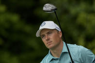 Jordan Spieth watches his tee shot on the 14th hole during the second round of the Masters golf tournament on Friday, April 9, 2021, in Augusta, Ga. (AP Photo/David J. Phillip)