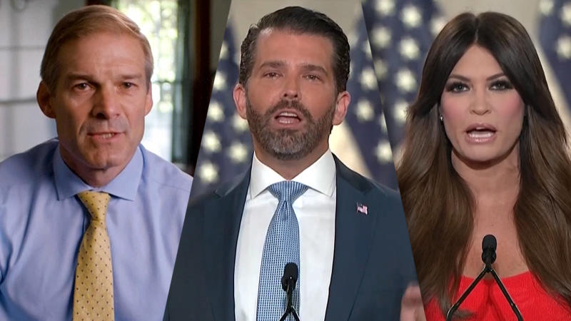 Rep. Jim Jordan, Donald Trump Jr. and Kimberly Guilfoyle speak during the virtual Republican National Convention on August 24, 2020. (via Reuters TV)