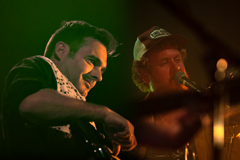 Dave Symes and Tim Hart of Boy & Bear performing live at The Tivoli in Fortitude Valley, Brisbane.