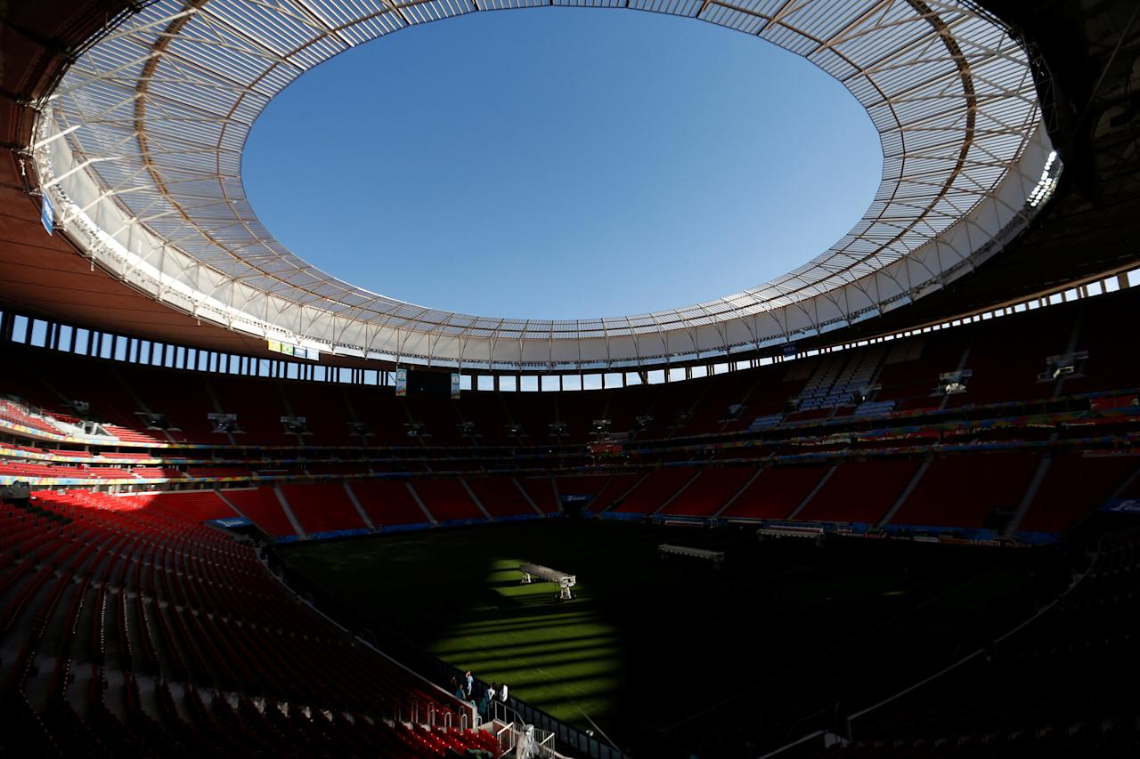 FILE PHOTO - General view of the Mane Garrincha National Stadium ahead of the 2014 World Cup in Brasilia, Brazil, June 9, 2014.   REUTERS/Ueslei Marcelino/File photo