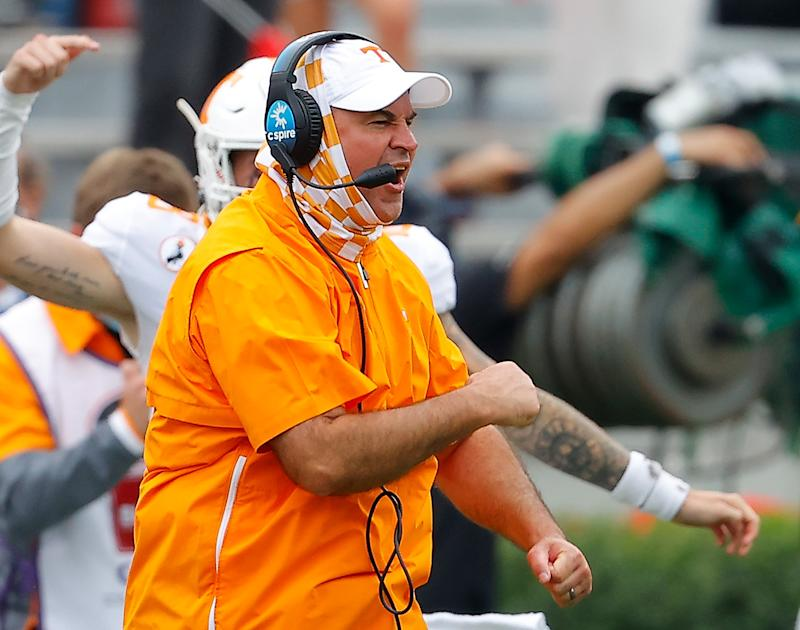 ATHENS, GEORGIA - OCTOBER 10: Head coach Jeremy Pruitt of the Tennessee Volunteers reacts to a touchdown against the Georgia Bulldogs during the first half at Sanford Stadium on October 10, 2020 in Athens, Georgia. (Photo by Kevin C. Cox/Getty Images)