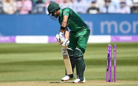 Babar Azam of Pakistan is bowled by Chris Woakes of England during the 3rd Royal London One Day International between England and Pakistan at The County Ground - Credit: Gareth Copley/Getty Images