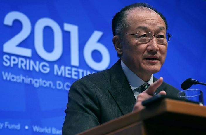 World Bank President Jim Young Kim speaks during a news conference April 14, 2016 in Washington, DC (AFP Photo/Alex Wong)