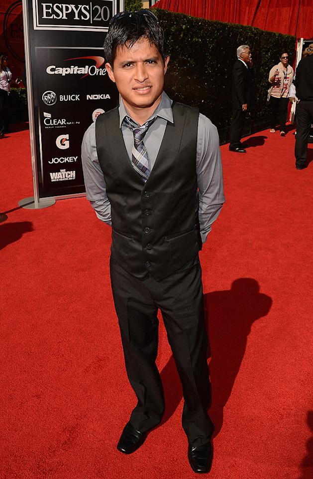 Jockey Mario Gutierrez, who won the 2012 Santa Anita Derby, Kentucky Derby, and Preakness Stakes while riding I'll Have Another, arrives at the 2012 ESPY Awards.