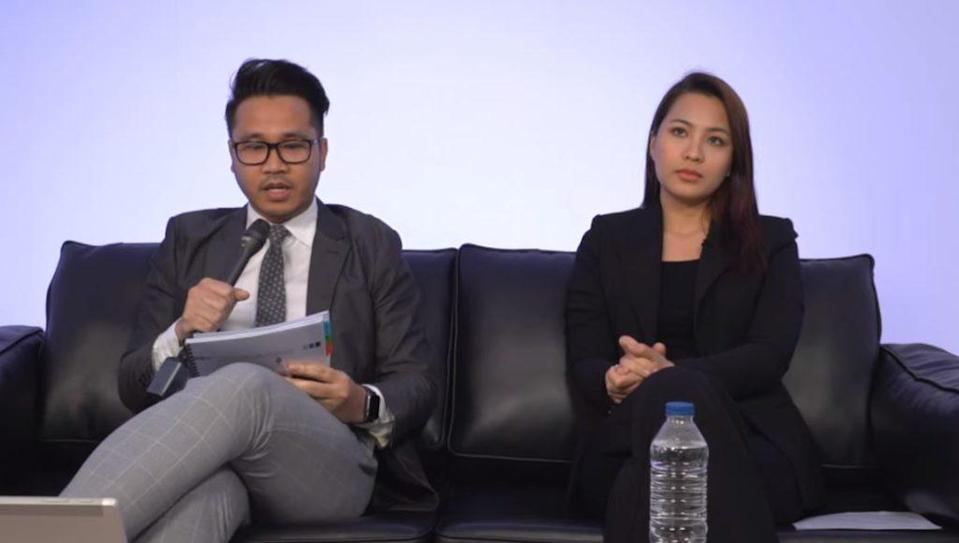 Lawyer Ben Syazmin, at left, and Janna Nick, at right, at today's press conference. Photo: Janna Nick/YouTube