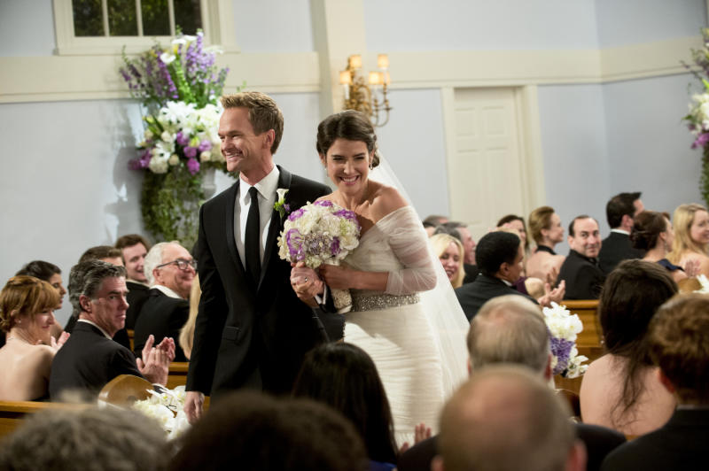 "LOS ANGELES - JANUARY 30: ""The End of the Aisle"" - "" With only a half-hour to go, both Barney and Robin have panic attacks about their upcoming nuptials. Meanwhile, Marshall and Lily rewrite their old wedding vows, on the final season of HOW I MET YOUR MOTHER, Monday, March 24(8:00-8:30 PM, ET/PT) on the CBS Television Network. Pictured: Neil Patrick Harris as Barney, Cobie Smulders as Robin. (Photo by Richard Cartwright/CBS via Getty Images)"