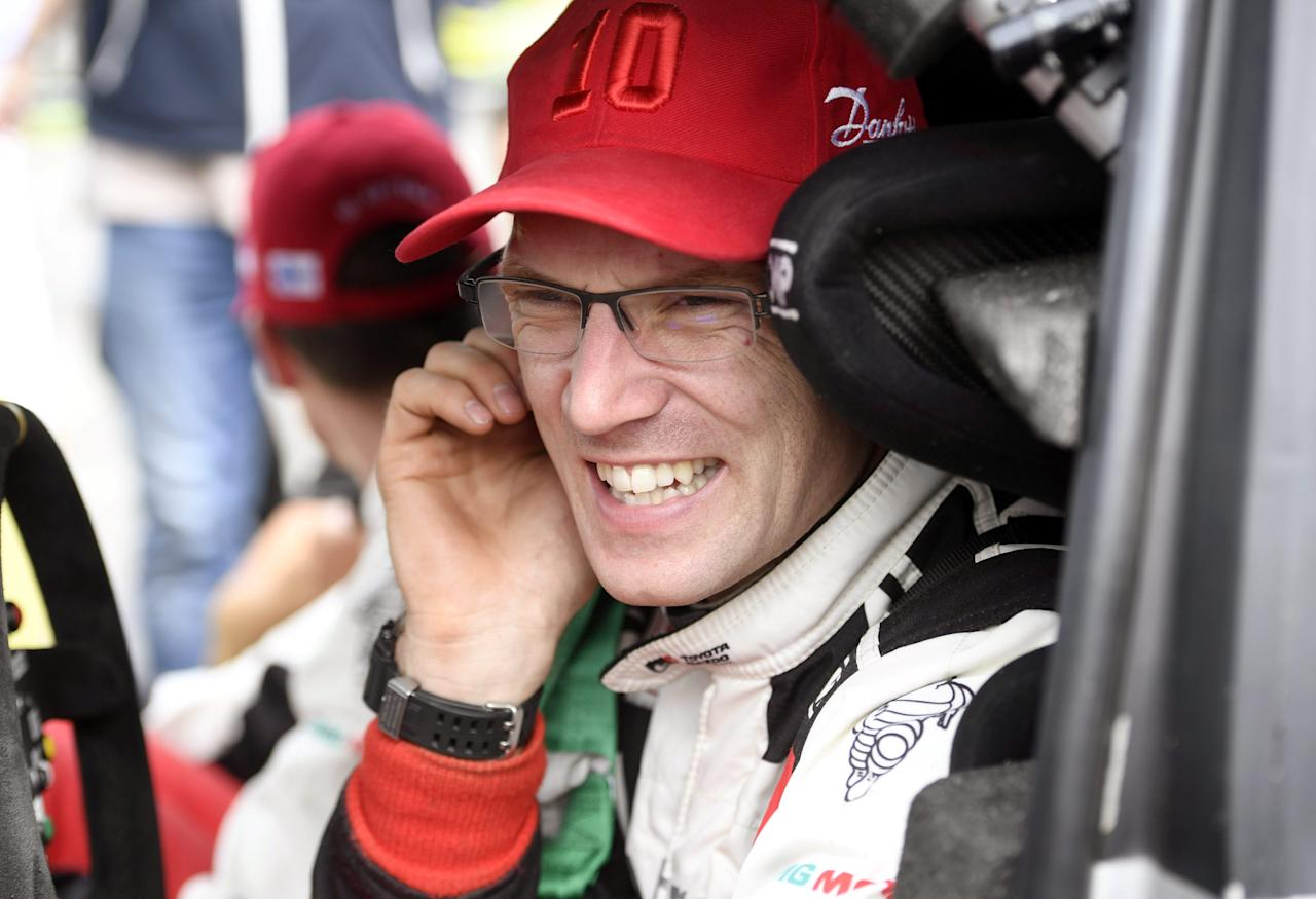 Jari-Matti Latvala of Finland reacts in his Toyota Yaris WRC during a service break in Jyvaskyla, Finland July 29, 2017. Lehtikuva/Heikki Saukkomaa via REUTERS     ATTENTION EDITORS - THIS IMAGE WAS PROVIDED BY A THIRD PARTY. NO THIRD PARTY SALES. NOT FOR USE BY REUTERS THIRD PARTY DISTRIBUTORS. FINLAND OUT. NO COMMERCIAL OR EDITORIAL SALES IN FINLAND.