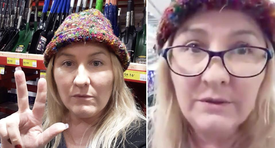 Pictured is Bunnings 'Karen' Lizzy Rose as she filmed herself refusing to wear a mask.