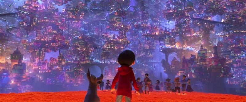 Miguel arrives in the Land of the Dead with his adopted dog Dante (Disney Pixar)
