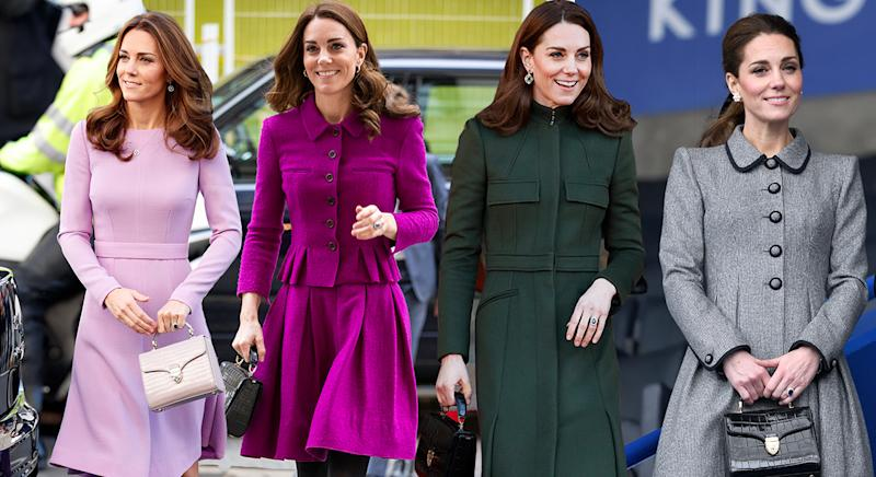 The Duchess of Cambridge has previously worn Aspinal of London's Midi Mayfair Bag - and it's now on sale. (Getty/ Yahoo Style UK)