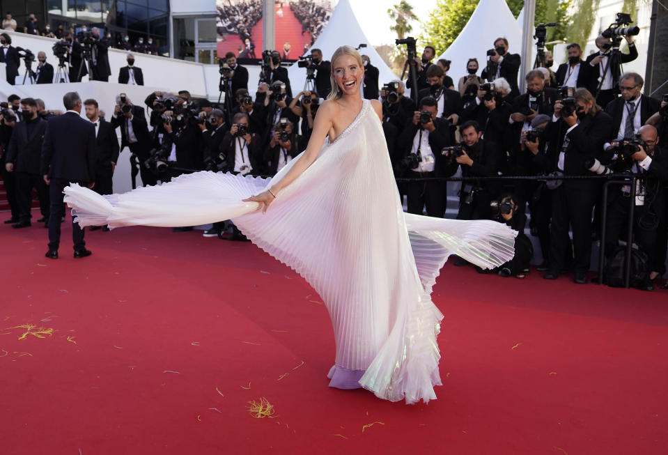 Leonie Hanne poses for photographers upon arrival at the premiere of the film 'Stillwater' at the 74th international film festival, Cannes, southern France, Thursday, July 8, 2021. (AP Photo/Brynn Anderson)