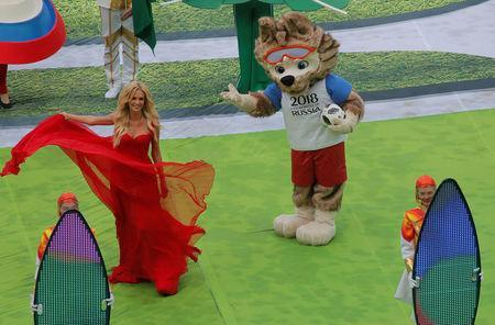 Soccer Football - World Cup - Opening Ceremony - Luzhniki Stadium, Moscow, Russia - June 14, 2018 World Cup mascot Zabivaka during the opening ceremony REUTERS/Maxim Shemetov