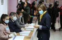 Maia Sandu, opposition candidate and former Prime Minister, votes at a presidential election Chisinau