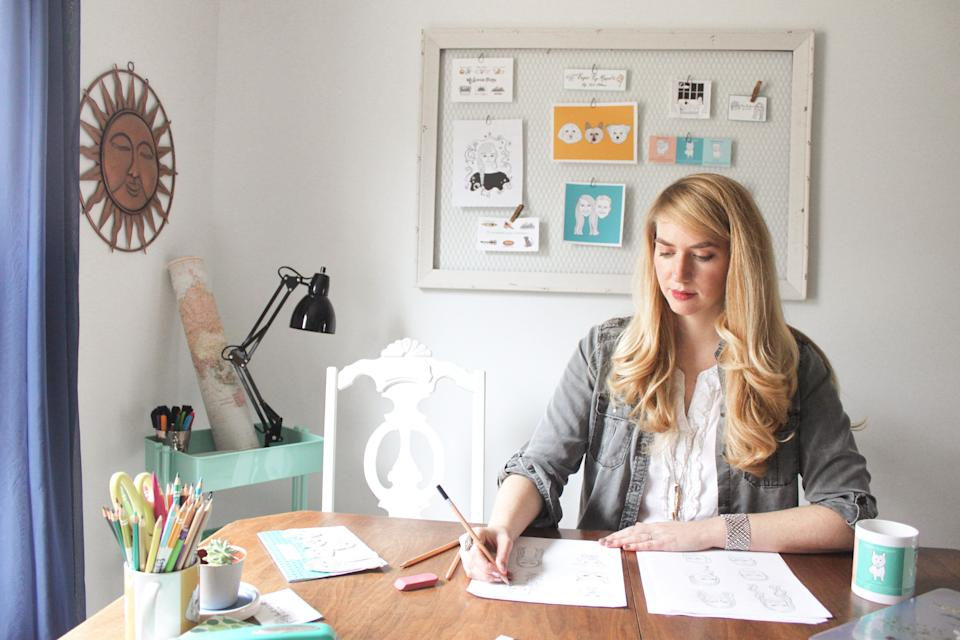 Brittney Andrews working on her Etsy shop, KitAtlas. (Photo: Etsy)