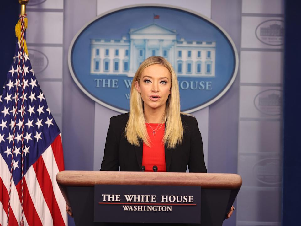 White House Press Secretary Kayleigh McEnany speaks in the James Brady Press Briefing Room on 07 January, 2021 (Getty Images)