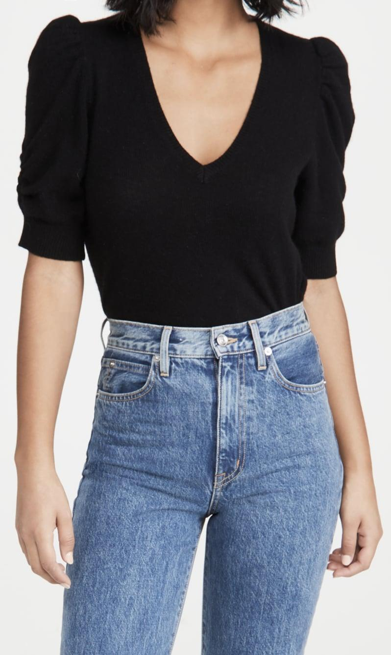 <p>The design of this <span>FRAME Frankie Cashmere Sweater </span> ($298) is so cool.</p>